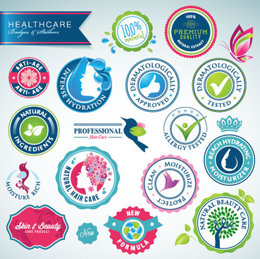 healthcare elements labels vector