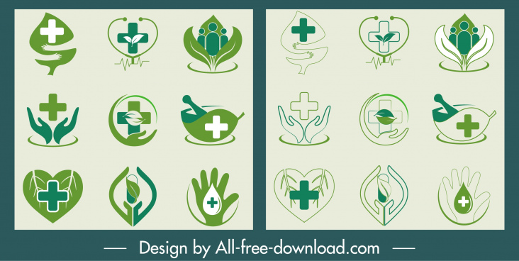 healthcare icons collection green heart hand leaf shapes