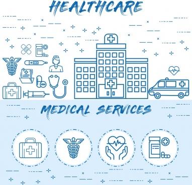 healthcare medical service line art vector