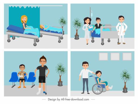 healthcare paintings hospital cartoon characters colored cartoon design