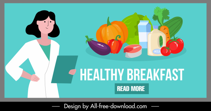 healthy breakfast banner foods doctor sketch