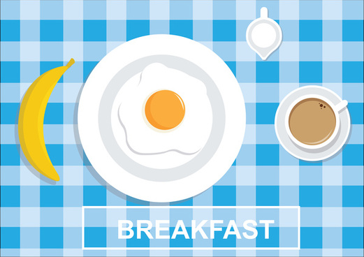 healthy breakfast with egg banana coffee