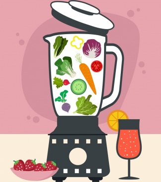 healthy drink advertising liquidizer glass vegetables icons