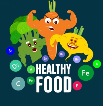 healthy food banner stylized vegetables icons decor