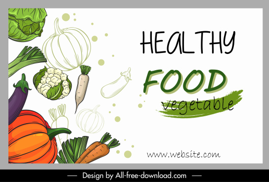 healthy food banner vegetables sketch classic handdrawn
