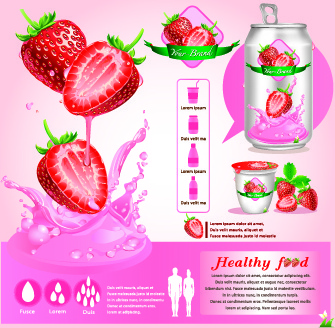 healthy food flyer template vector