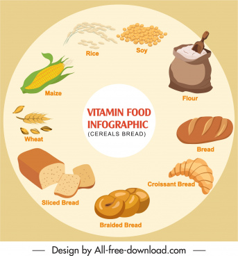 healthy food infographic banner bright colored circle layout