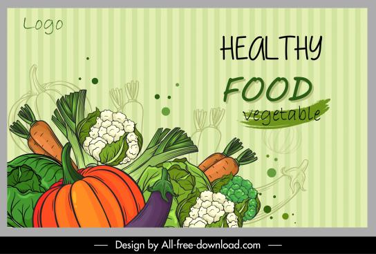 healthy food poster colorful handdrawn vegetables sketch