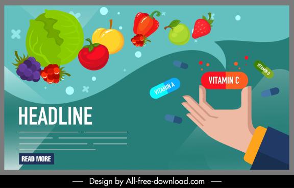 healthy food poster fruits vegetables pills sketch