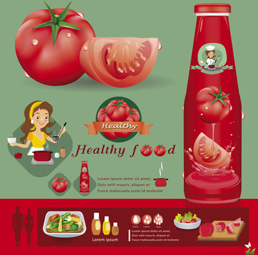 healthy food tomato creative poster vector