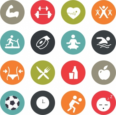 healthy life icons collection various flat isolation