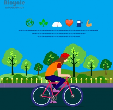 healthy life infographic bicycle rider icon
