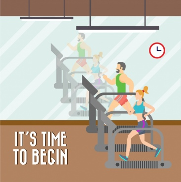 healthy life promotion banner gymnasium room reflection style