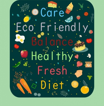 healthy lifestyle background food texts decor multicolored design