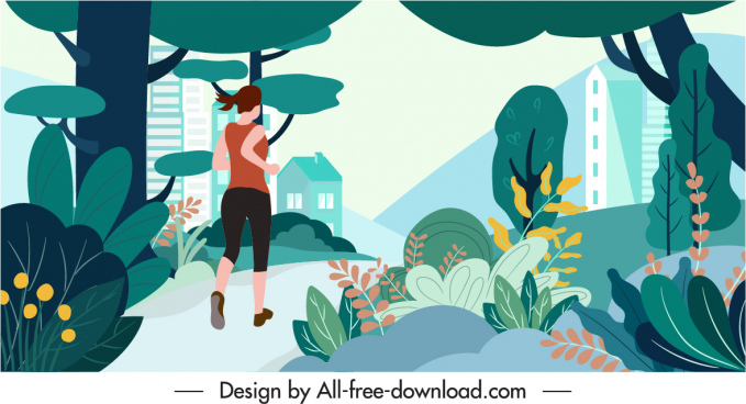 healthy lifestyle background template jogging activity contemporary design