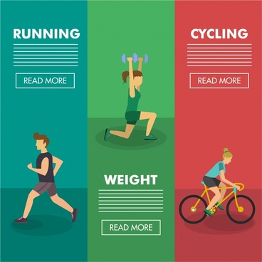 healthy lifestyle banner colored webpage style