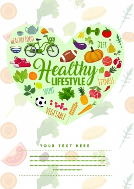healthy lifestyle banner colorful icons heart layout