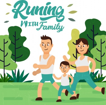 healthy lifestyle banner family icon colored cartoon design