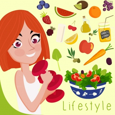 healthy lifestyle banner girl fruits icons decoration