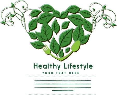 healthy lifestyle banner leaves and heart decor design