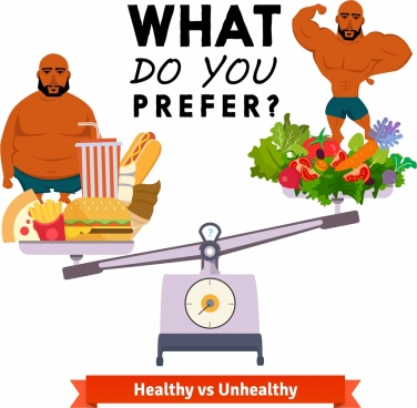 healthy lifestyle banner male balance vegetable fastfood icons