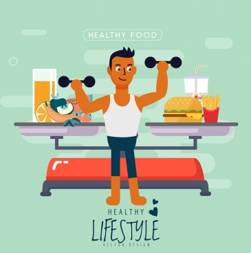 healthy lifestyle banner man gym food scale icons