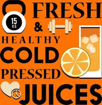 healthy lifestyle banner orange juice dumbbell texts icons
