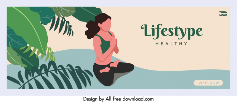 healthy lifestyle banner zen theme cartoon sketch
