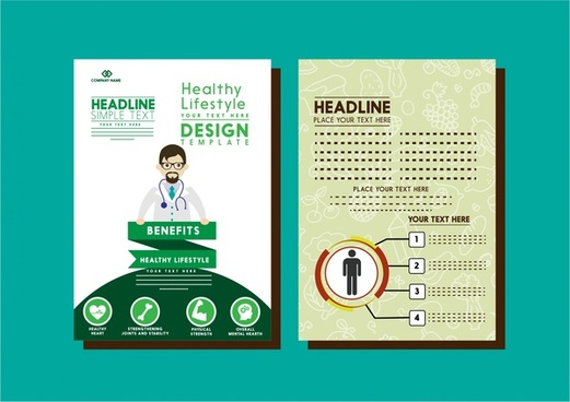 healthy lifestyle brochure doctor and vignette design