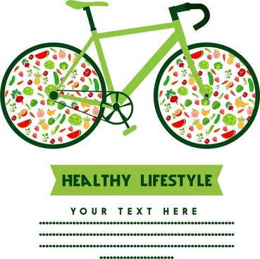 healthy lifestyle concept bicycle design with fruit icons