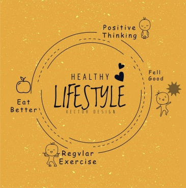 healthy lifestyle concept infographic flat retro circle decor