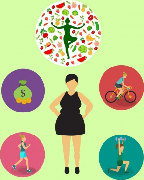 healthy lifestyle concept various activities isolation woman icon
