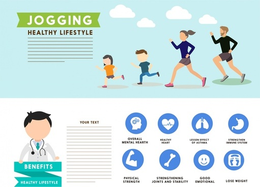 healthy lifestyle concept vector illustration with jogging activities