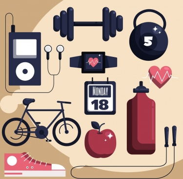 healthy lifestyle design elements device icons decor