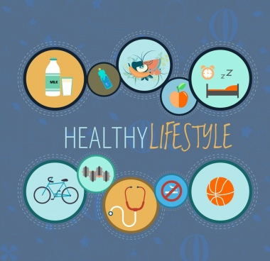 healthy lifestyle design elements flat circles isolation