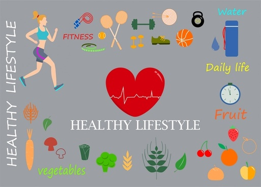 healthy lifestyle design elements in flat colored style