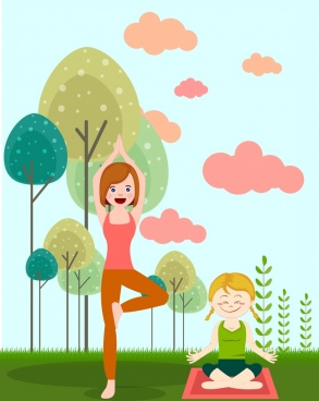 healthy lifestyle drawing yoga women colored cartoon