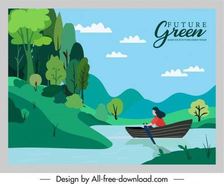 healthy lifestyle poster natural landscape rowing girl sketch