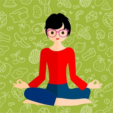 healthy lifestyle theme female meditation on food background