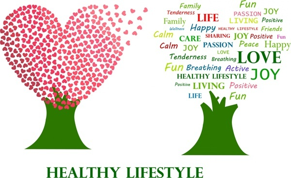 healthy lifestyle theme hearts and words trees design