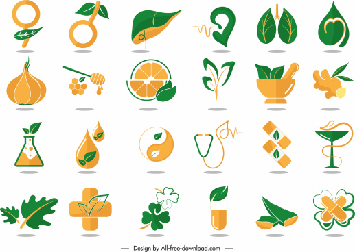 healthy medicine logotypes classic orange green decor