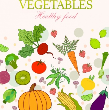 healthy vegetables banner colorful icons decor