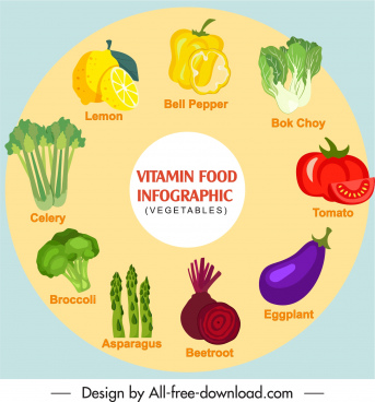 healthy vegetables infographic poster colorful flat handdrawn sketch