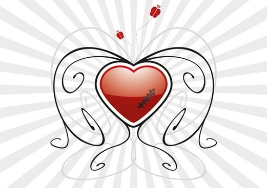 abstract hurt heart vector illustration with curved lines