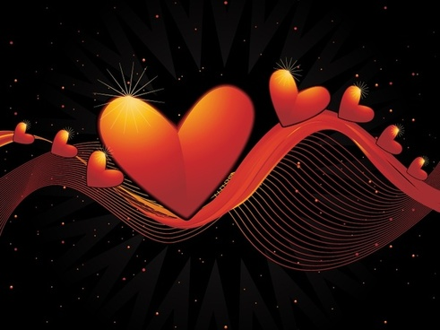 romance background dynamic hearts decor 3d curves ornament
