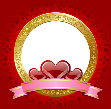 heart and glod frame vector background
