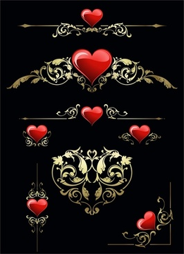 valentine decor elements shiny red heart symmetrical decor