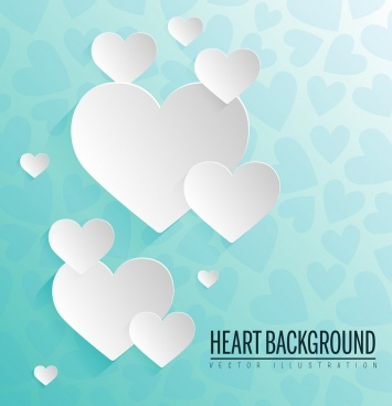 heart background paper cut decoration style