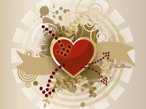 Heart Banner Vector Graphics