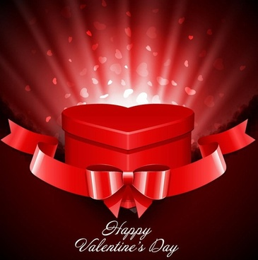 Heart Gift Present with Fly Hearts Valentine's Day Background